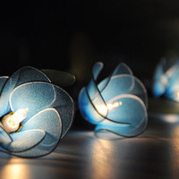 Blue flower string lights for party and decoration (20 bulbs)