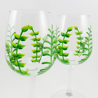 Wine Glasses Hand Painted Ferns Set of 2