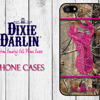 Hunting Inspired iPhone 4/4s / iPhone 5/5s / iPhone 5c / iPhone 6/6+ / Country Chic Phone Case - Camo & Hot Pink Buck and Bow (CP0201)