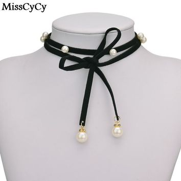 MissCyCy 2016 New Fashion Rope Necklace For Women Long Black Leather Rope Imitation Pearl Choker Necklace Women