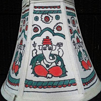 Handpainted Ganesha Lamp Shade,Table Lamp Shade,Madhubani Art,Bed side Lamp Shade,Vermellion Green White