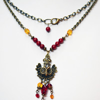 Long Antiqued Gold Owl Necklace in Red and Yellow Womens Necklace Indian Boho Necklace