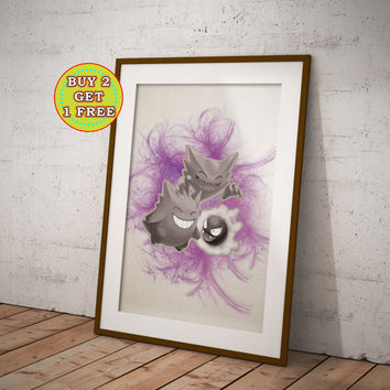 Gastly Hunter Gengar, Pokemon, Pokemon Poster, Pokemon Anime, Pokemon Print, Pokemon Gifts, Pokemon, Pokemon Canvas, Anime, Anime OC-668