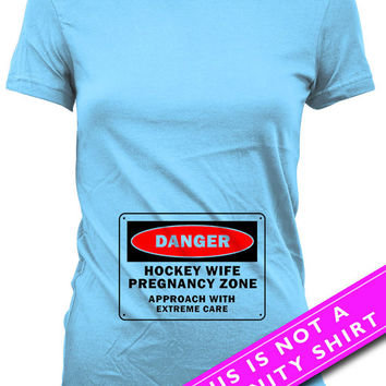 Funny Pregnancy T Shirt Pregnancy Announcement Shirt Baby Announcement Maternity Clothes Hockey Wife Shirt New Baby Gift Ladies Tee MAT-649