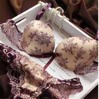 Brand New 2016 French Romantic Brand Lace Bra Sets Sexy Women Underwear Set Push Up BC Bra and Panty Set seamless lingerie set