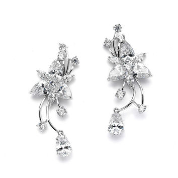 Graceful CZ Vine Wedding or Prom Earrings with Dangle