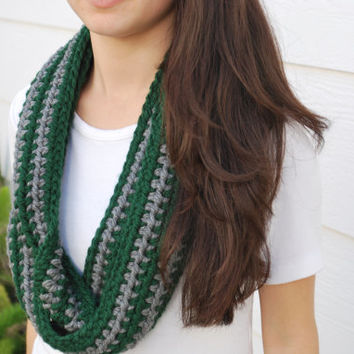 Handmade Slytherin-themed infinity scarf