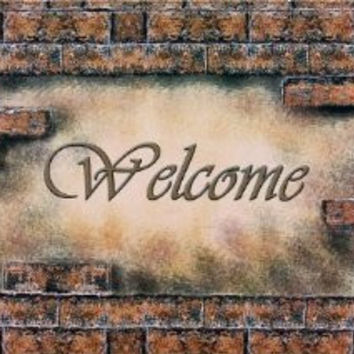 Achim Home Furnishings Outdoor Rubber Mat, Welcome Bricks