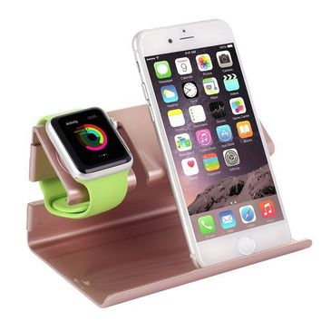 ICIK4S2 Apple Watch Stand,iPhone 6 Stand,BENTOBEN Charging Stand Dock Station Cradle Nightstand for Apple Watch and iPhone with Cable Winder Detachable Construction Anti Slip Foam Cushion Rose Gold