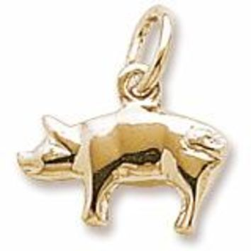 Pig Charm In Yellow Gold