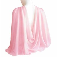 "Baby Pink Wide Long Shiny Scarf for Women Evening Wrap With Gift Box Formal Wedding Shawl Lightweight Cocktail Chiffon Stoles 77"" x 27"""