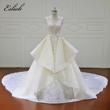Eslieb High Quality Lace wedding dress turkey Cap Sleeve Luxury ivory Bridal Ball Gowns 2018 vestidos de novia Plus Size Dresses