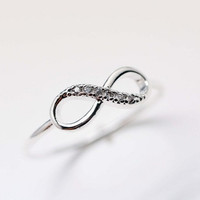Infinity brass Ring in silver color
