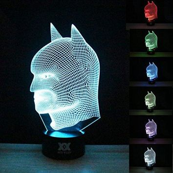 Batman 3D Lamp Room Bedroom Decorative Night Light Multi 7 Color Change USB Smart Touch