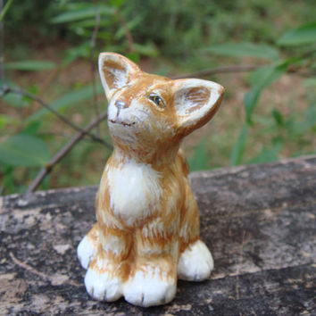 Hand sculpted paper clay miniature cat