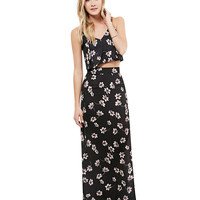 Black Floral Print Midi Cut-Out Skirt