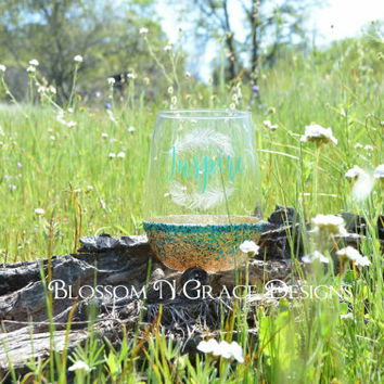 Engraved feather wine glass, Inspire gold glitter dipped wine glass, Wine glass, Glitter dipped wine glass, Engraved feather wine glass