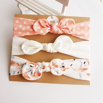 3Pcs/Set Baby Heaband Floral Bows Elastic Baby Girl Headbands Cotton Bowknot Hair Accessories Haarband for Kids Girls Hairband
