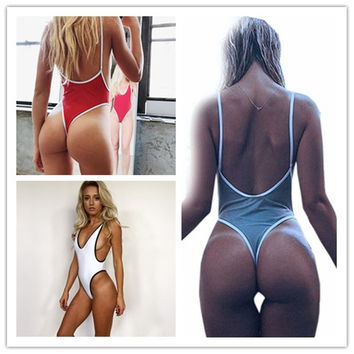 Thong Swimwear Women 2017 One Piece Swimsuit Bodysuit Bikini High Cut Swimming Suit For Women Monokini Deep V Neck Bathing Suit