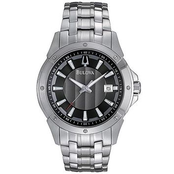 Bulova Mens Sport Watch - Stainless Steel - Black/Gray Dial - Bracelet - Date