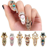 Women Fashion Bowknot Nail Ring Charm Crown Flower Crystal Finger Nail Rings AU
