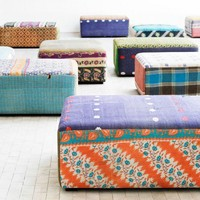 Antique Quilts Mags Ottoman - Sofas + Pouffes + Lounge Seating  - Living