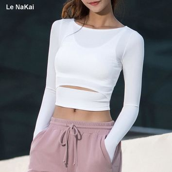 Le NaKai soft knitted rib yoga shirts for women off-shoulder shirts crop top long sleeves skinny fit sports shirts athletic wear