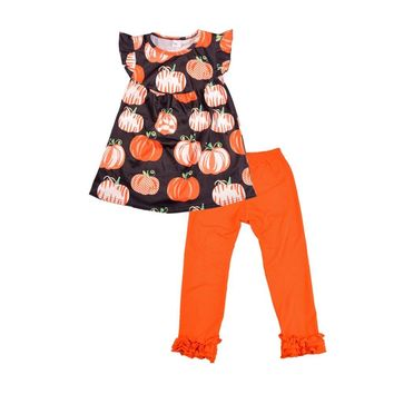 Halloween Day New Arrival Baby Girl Summer Clothes Cute Pumpkin Pattern With Ruffle Pants Set Boutique Clothing 2GK807-483