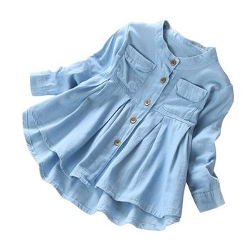 Light Blue Jean Outwear Round Collar Chaqueta Shirt Long Sleeves Danim Jacket with Pleated Bottom for Baby Girls