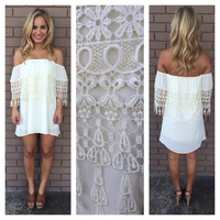 Breanne Eyelet Strapless Dress - IVORY