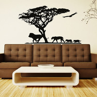 Safari Wall Decal African Jungle Wild Animals Wall Stickers- Africa Safari Tree Animals Decal Nursery Living Room Bedroom Home Decor 0061