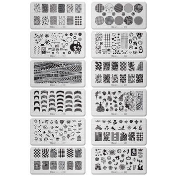12 Design 6*12cm Stainless Steel Template Nail Art Polish Stamping Plates 3D Pattern Stencils For Nails JH114