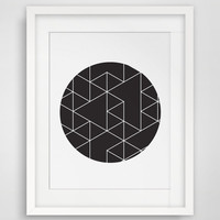 Geometric Print, Circles Art, Black & White, Geometric Print Art, Circle Art, Triangle Print, Black Circle, Geometric Wall Print