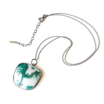 Antique Pendant Necklace Broken China Necklace Vintage Chinese Porcelain & Silver Pendant