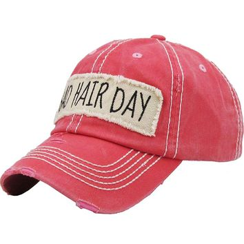 "Coral Red ""Bad Hair Day"" Patch Baseball Cap"