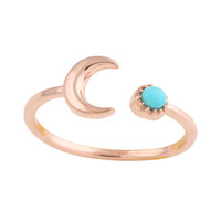 Crescent Moon Stone Rose Gold Vermeil Ring