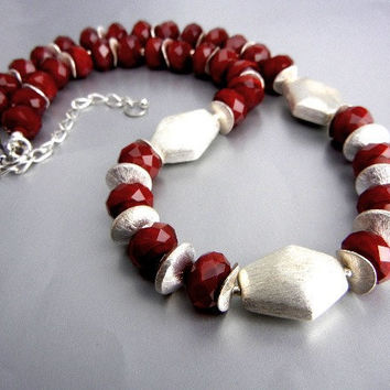 Dark red sparkly crystal necklace with brushed silver beads and spacers