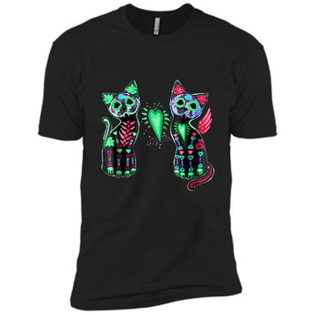Day of Dead Sugar Cat  Cats Skeleton Skull Tee  Next Level Premium Short Sleeve Tee
