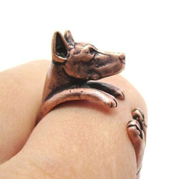 Realistic Doberman Pinscher Dog Shaped Animal Wrap Ring in Copper | Sizes 5 to 9