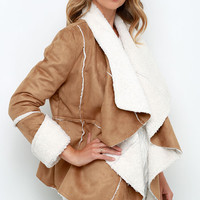 Somedays Lovin' Hail Sunrise Tan Sherpa Coat