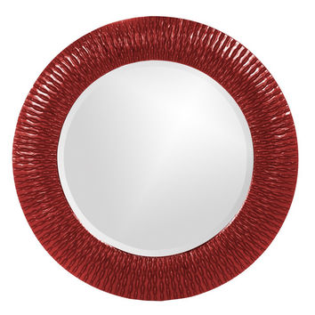 "Howard Elliott Bergman Red Small Round Mirror 32"" Diameter x 1"""