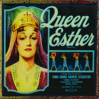 Queen Esther Brand - Vintage Citrus Crate Label - Handmade Recycled Tile Coaster