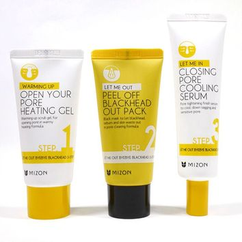 MIZON Let Me Out Byebye Black head 3 STEP KIT Skin Care Peeling Treatment Mask Pore Cleanser Shrinking Pores Blackhead Remover