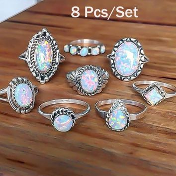 8Pcs/set Rings Set Sterling Silver Gemstone Fire Opal Diamond Ring Wedding Engagement Jewelry Retro Simple Rings Set