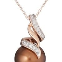 """10k Rose Gold Chocolate Tahitian Cultured Pearl with Diamond Accent Pendant Necklace (1/10 Cttw, G-H Color, I2-I3 Clarity), 17"""""""