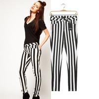 Black White Striped Elastic Long Pants