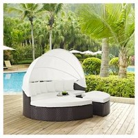 Convene Canopy Outdoor Patio Daybed in Espresso White - Modway