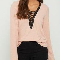 Pink Hacci Lace Up Shirt
