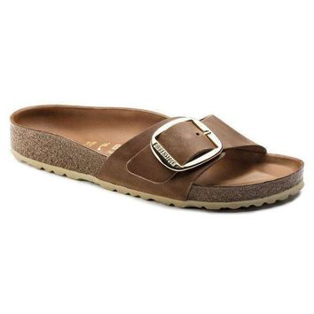 DCCK1 Birkenstock Madrid Big Buckle Oiled Leather Cognac 1006525 Sandals