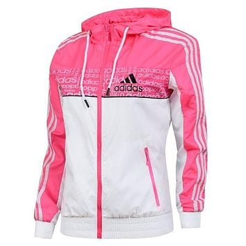 Adidas Women Fashion Zip Cardigan Jacket Coat Sweatshirt Windbreaker